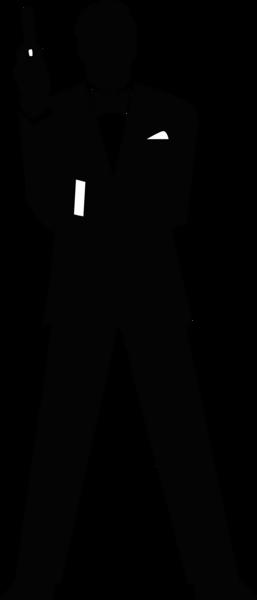 James Bond Secret Agent 007 Black & White Silo Clipart.