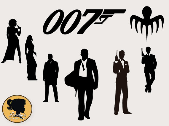 007 Digital Clipart Images, Instant Download, 007 silhouette.