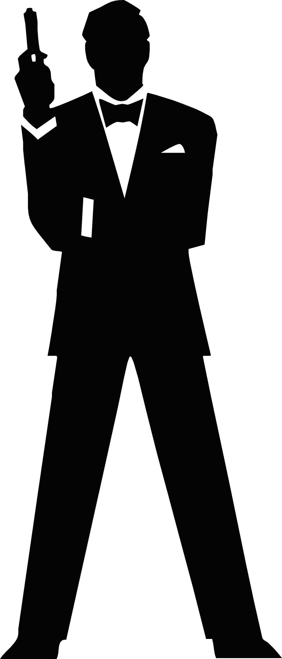 free vector James Bond Secret Agent 007 Black & White Silo.