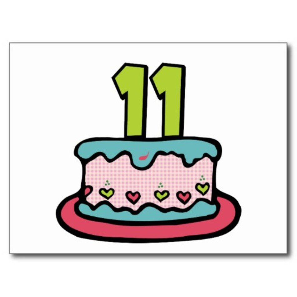 11 Year Old Birthday Cake Clip Art free image.