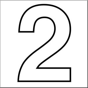 Clip Art: Number Set 1: 02 Outline I abcteach.com.