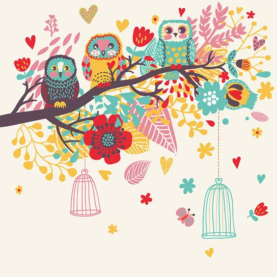 OWL CLIPART, Cute owl, Tree Branches, PNGs and Vector, Birdcage.