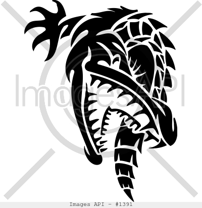 Tribal alligator 036 Picture Clip Art.