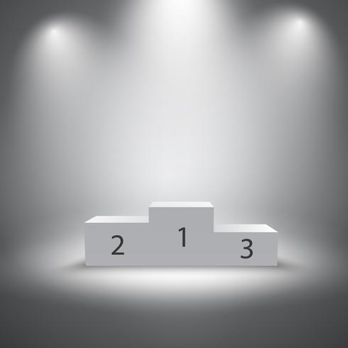 Illuminated sports winners podium.