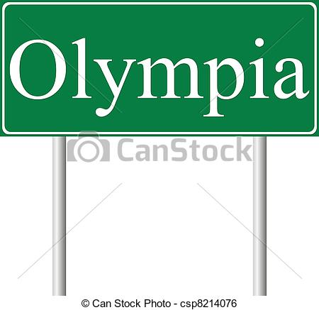 Clip Art Vector of Olympia green road sign isolated on white.