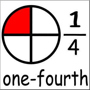 Clip Art: Labeled Fractions: 04 1/4 One Fourth Color I.