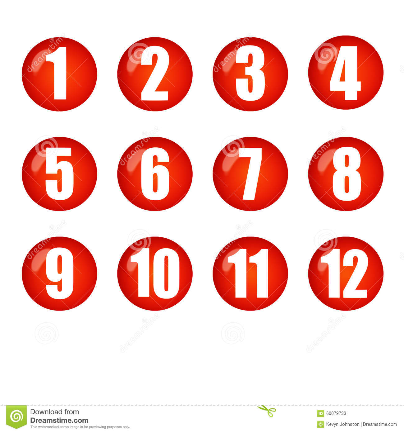 Numbers 1 To 12 Clipart.