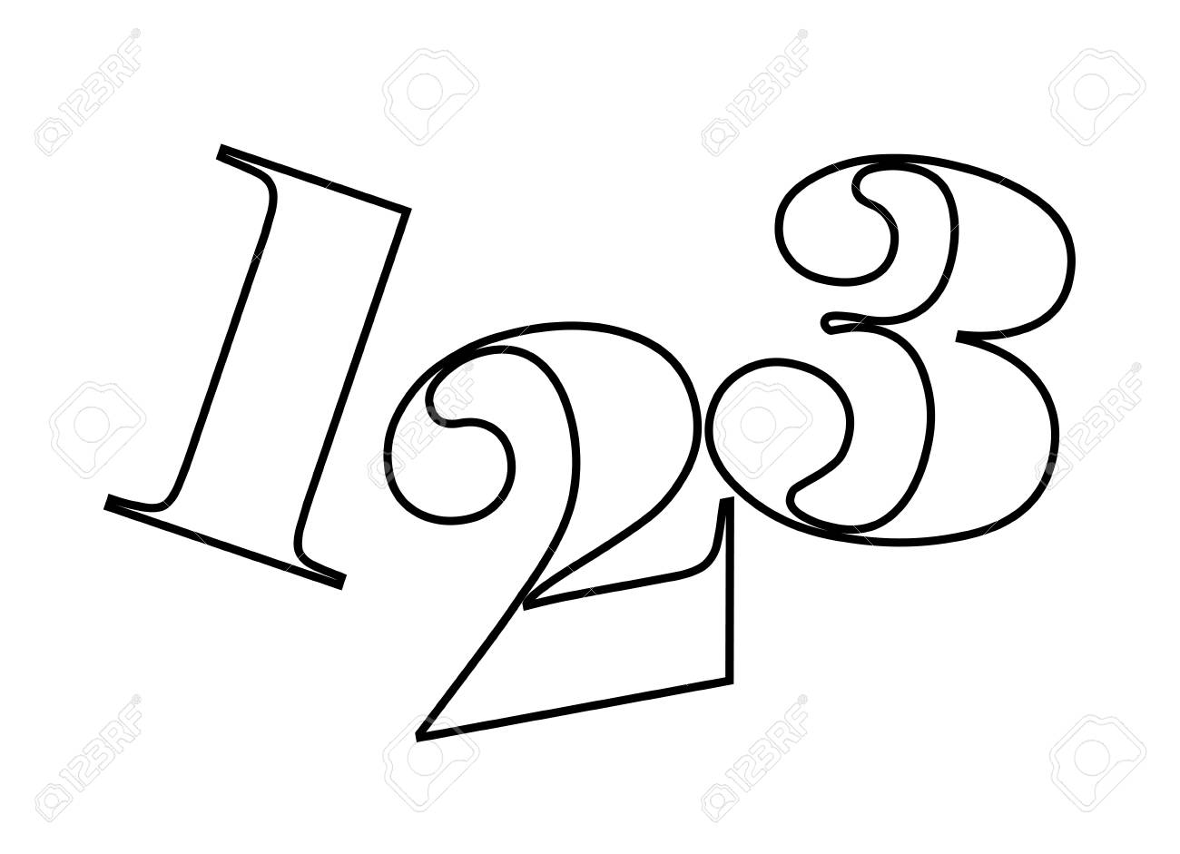 1,2,3 numbers drawing isolated icon design, vector illustration...