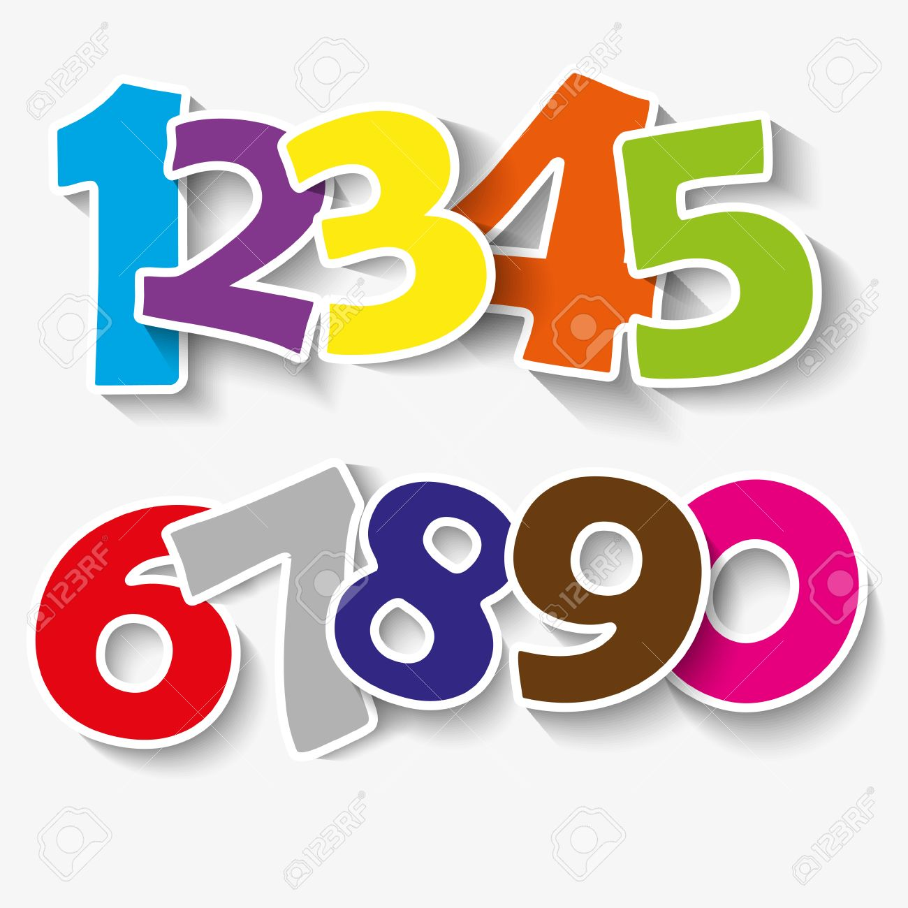 Set of colorful ribbon font. Numbers 0,1,2,3,4,5,6,7,8,9,0. ...