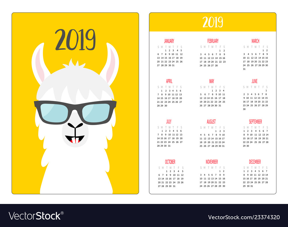Alpaca llama in glassess simple pocket calendar.