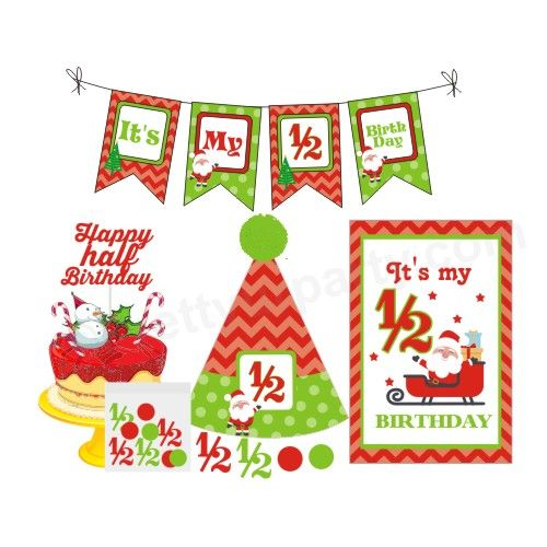 1/2 Birthday Merry Christmas Theme Package.