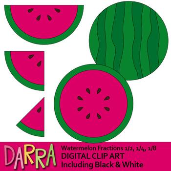 Watermelon clipart, simple fractions 1/2, 1/4, 1/8, math clip art.
