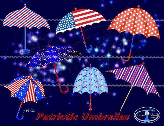 1/2 OFF 50 SALE 7 Umbrellas Clipart Clip Art Red by.