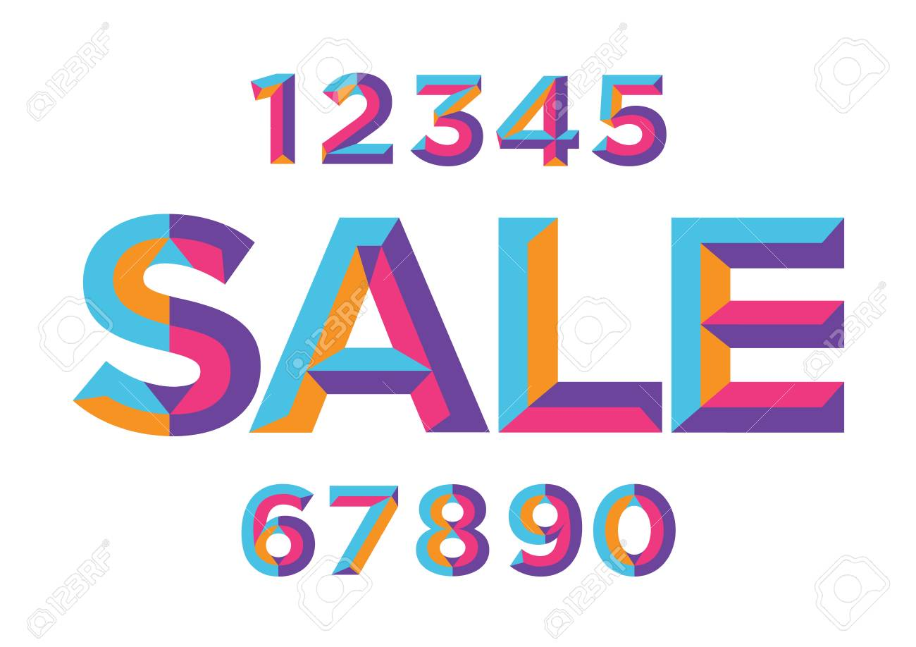 0, 1, 2, 3, 4, 5, 6, 7, 8, 9 numeral alphabet. Percent off, sale...