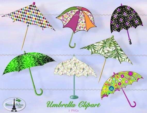 Rainy Day Clipart, Umbrella Clipart, Parasol Clip Art, Card.
