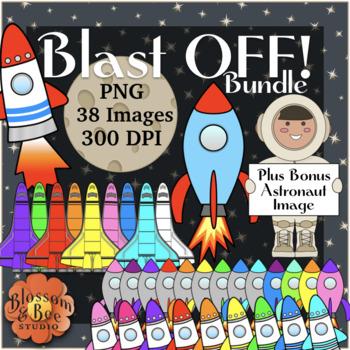 Blast OFF Bundle Rocket Ship Space Shuttle Clip Art with Bonus Astronaut  Image.