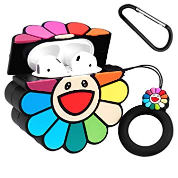 Joyleop(Sun Flower) Compatible with Airpods 1/2 Case Cover, 3D Cute Cartoon  Plant Funny Fun Cool Kawaii Fashion,Silicone Airpod Character Skin.
