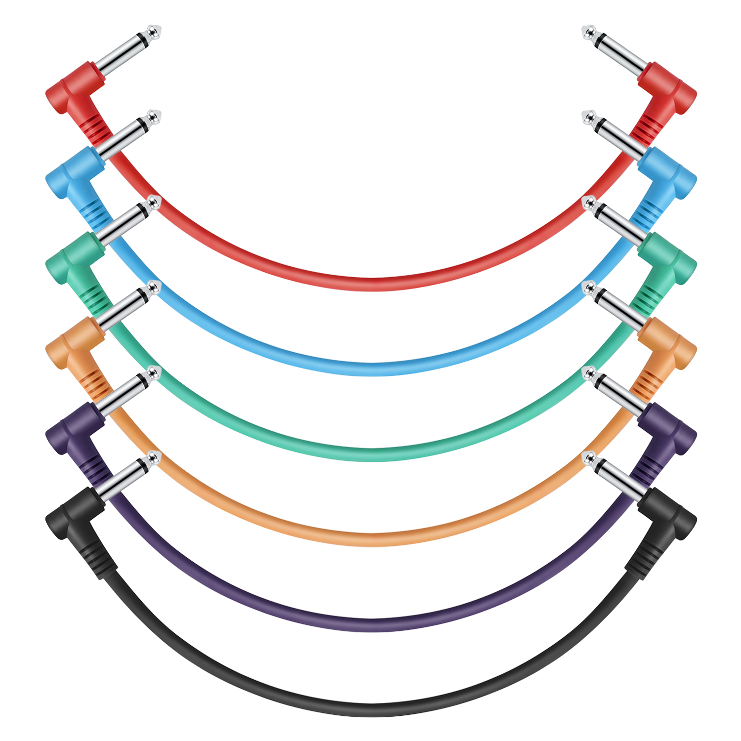 Details about 6 Pack Donner 12 Inch Guitar Patch Cables Colored TS 1/4\