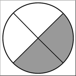 Clip Art: Circle04 2/4 B&W I abcteach.com.