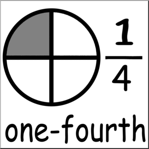 Clip Art: Labeled Fractions: 04 1/4 One Fourth Grayscale I abcteach.