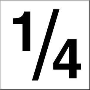 Clip Art: Numerical 04 1/4 B&W I abcteach.com.