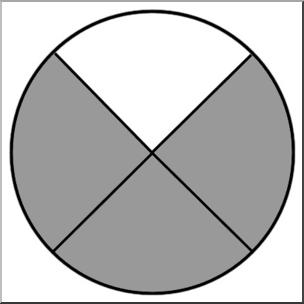 Clip Art: Circle04 1/4 B&W I abcteach.com.