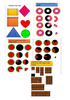 Fun Fraction Food & Shape Clipart.