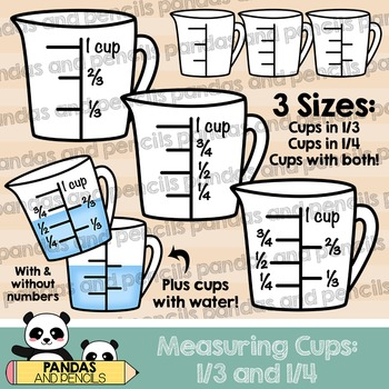 Measuring Cups Clip Art: 1/3 and 1/4 Increments (Thick Lines.