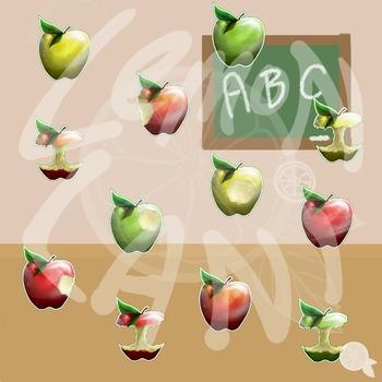 Realistic Apples Clip Art.