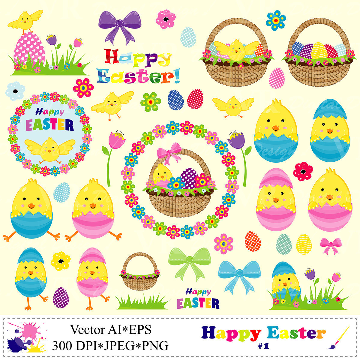 Happy Easter Clip Art Easter Basket Chicken Eggs Clipart.