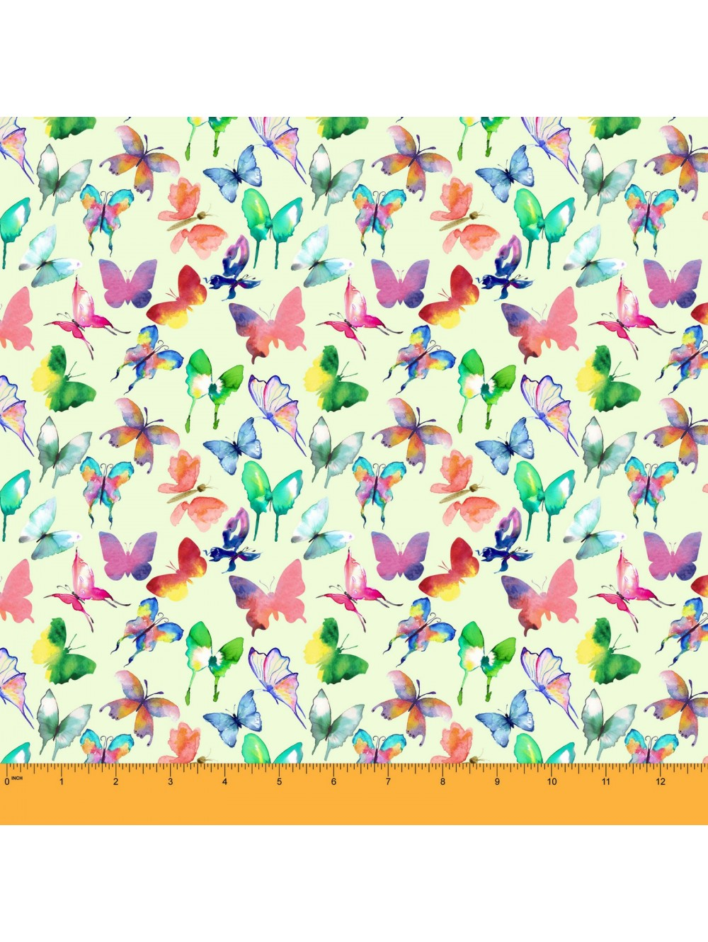 Soimoi Butterfly Print 44 Inches Wide Moss Georgette Sewing Fabric.