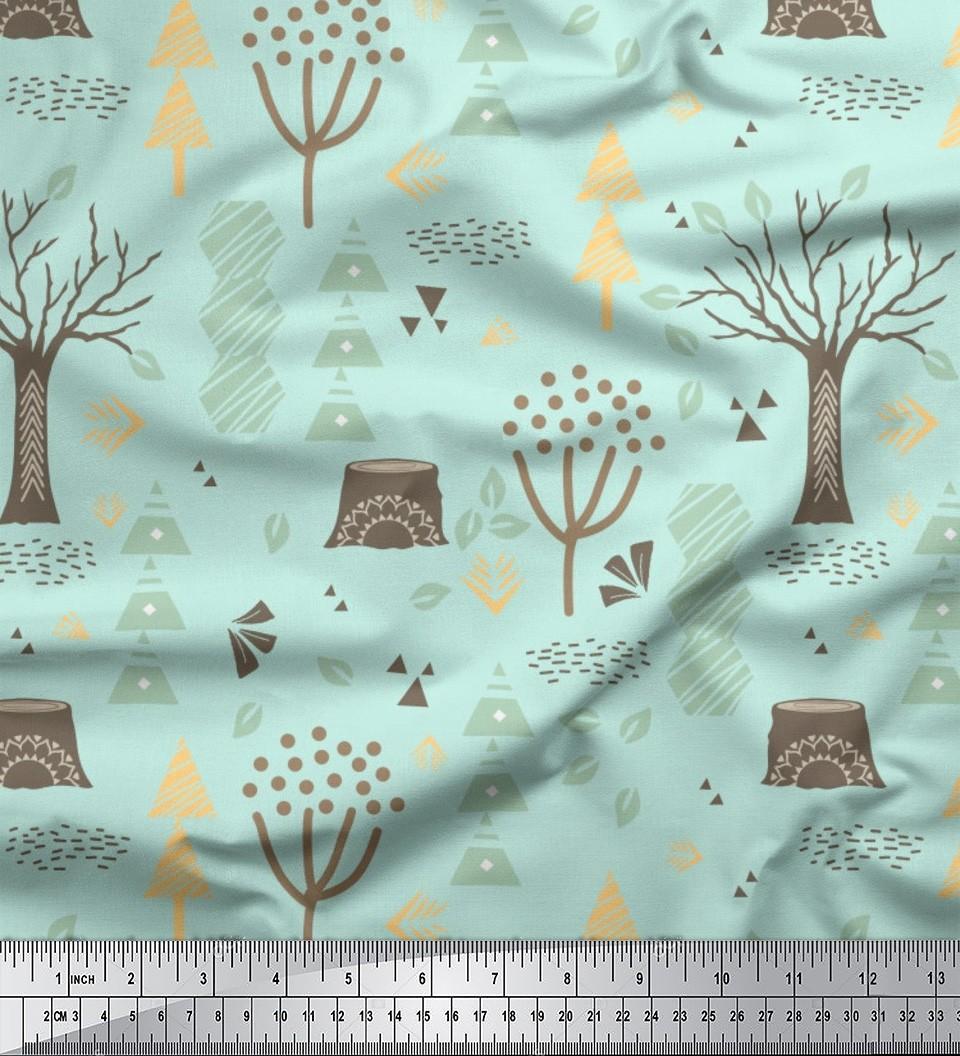 Soimoi Leaves & Dry Tree Clip Art Print Fabric BTY.