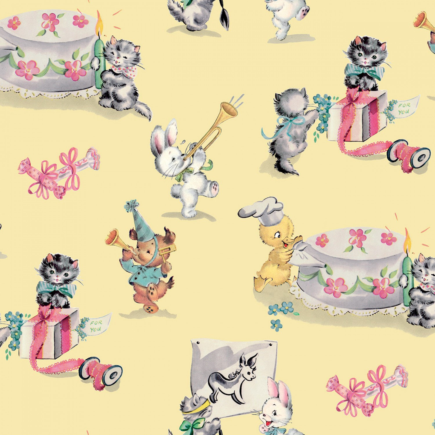 PERFECT PARTY Children's Cotton Fabric by Lindsay Wilkes for.
