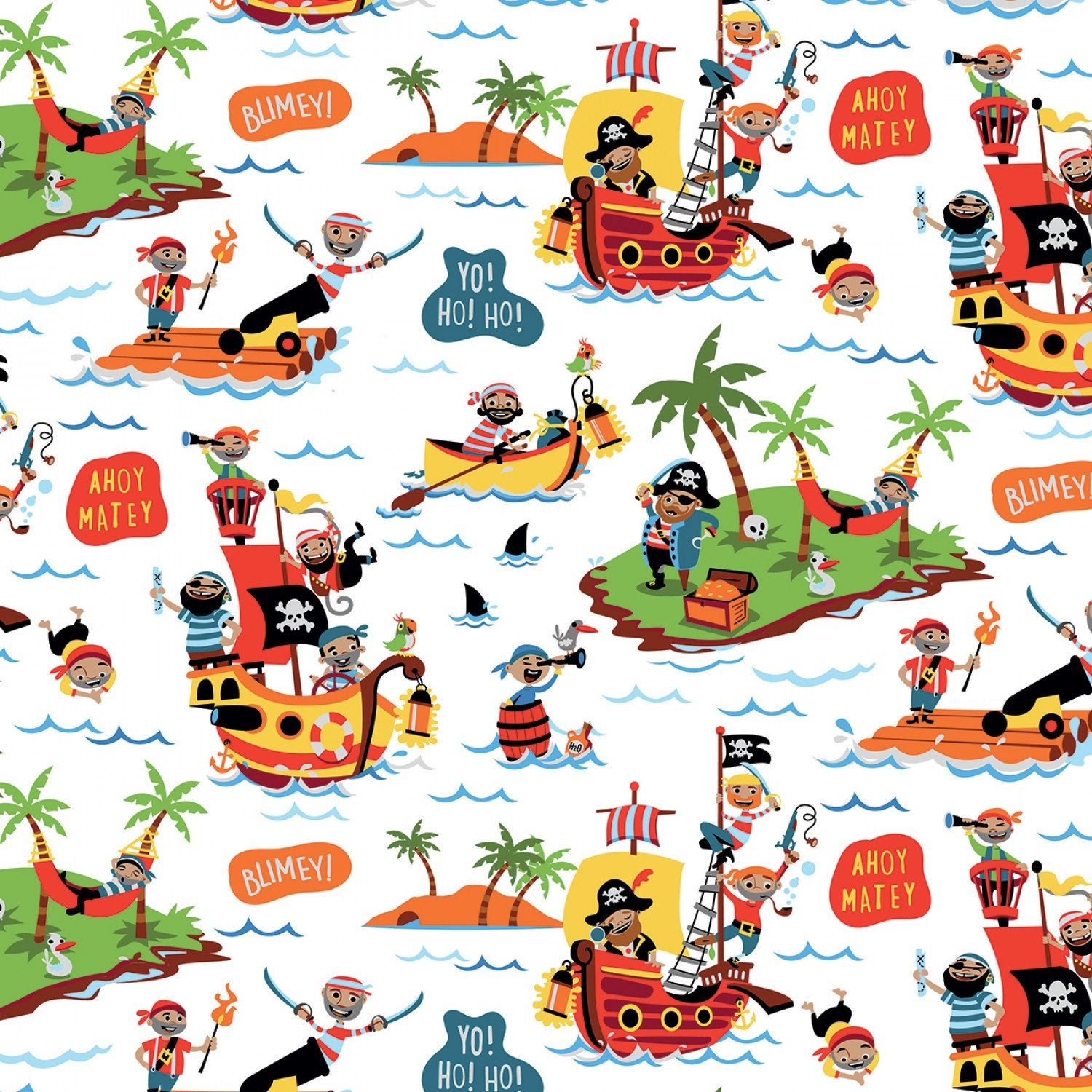 RILEY BLAKE PIRATE'S Life Cotton Flannel Fabric Collection Main on.