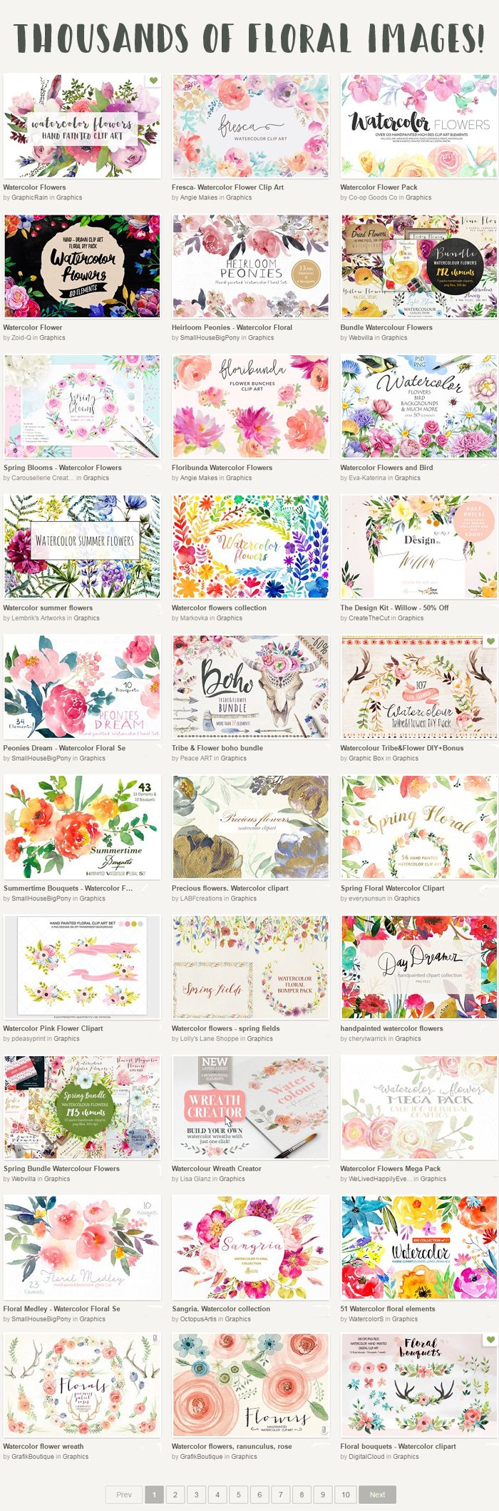 Favorite floral clipart resource! Search for 'watercolor flowers.