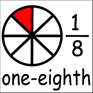 Clip Art: Labeled Fractions: 08 1/8 One Eighth Color I.