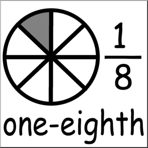 Clip Art: Labeled Fractions: 08 1/8 One Eighth B&W I.