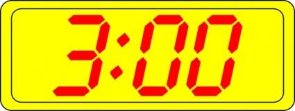 Digital Clock 3:00 clip art free vector.