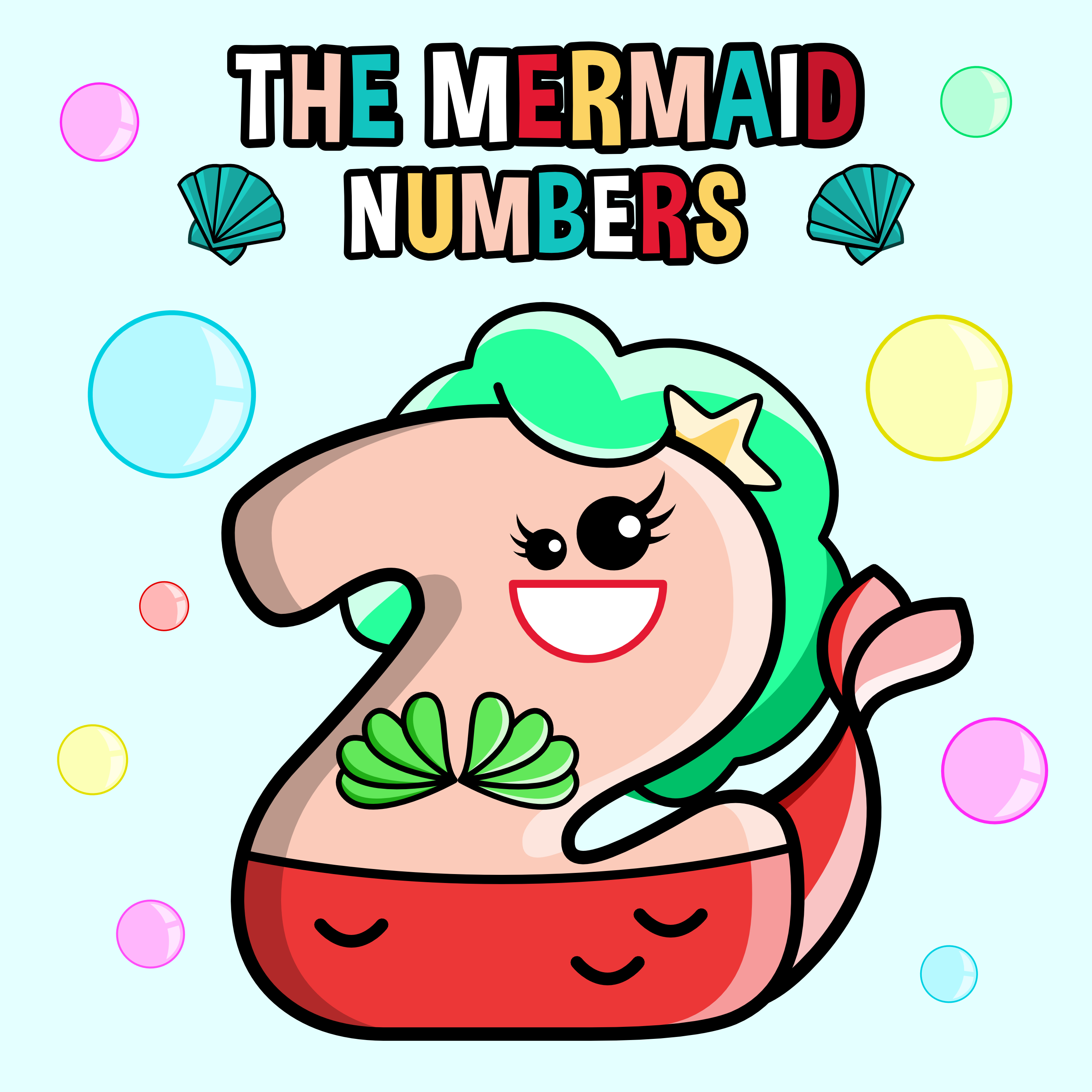 Mermaid Numbers Clipart.