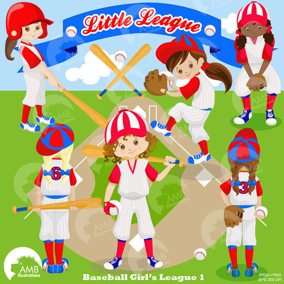 Baseball Team clipart, Baseball Diamond clip art, Girls.