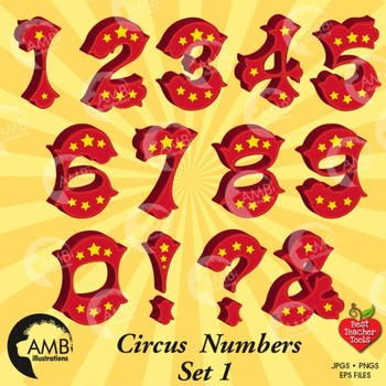 Circus Numbers Clipart, Carnival Clipart, {Best Teacher Tools} AMB.