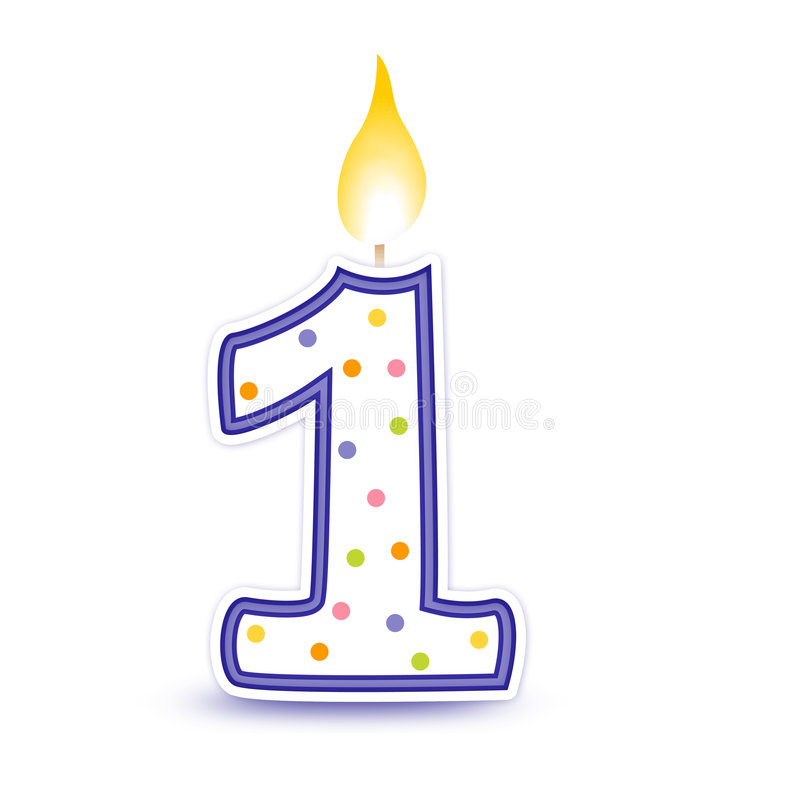1 Birthday Candle Clipart.