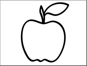 Clip Art: Basic Words: Apple 1 B&W Unlabeled I abcteach.com.