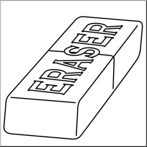 Clip Art: Eraser 1 B&W I abcteach.com.