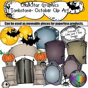Tombstones October Clip Art.