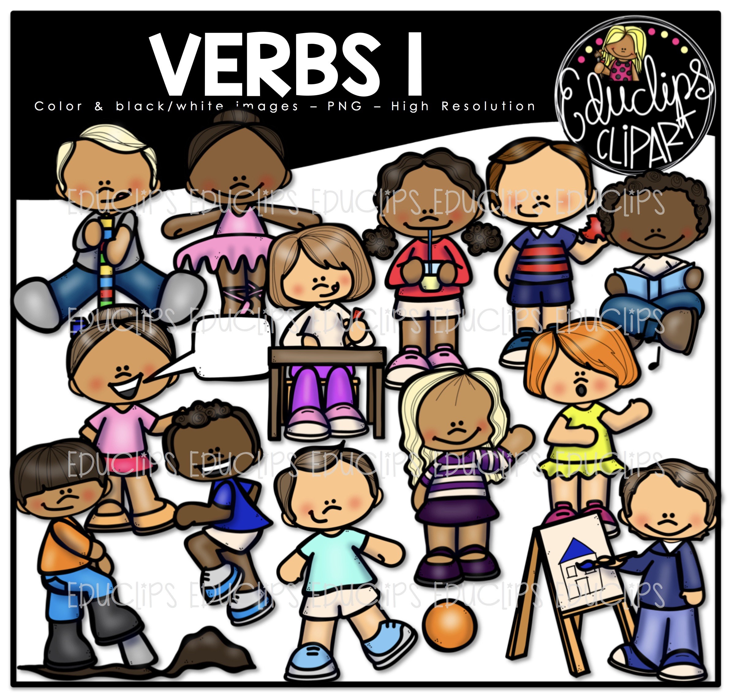 Verbs 1 Clip Art Bundle (Color and B&W).
