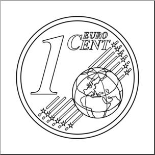 Clip Art: Euro 1 Cent B&W I abcteach.com.