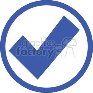 blue circled check mark clipart. Royalty.