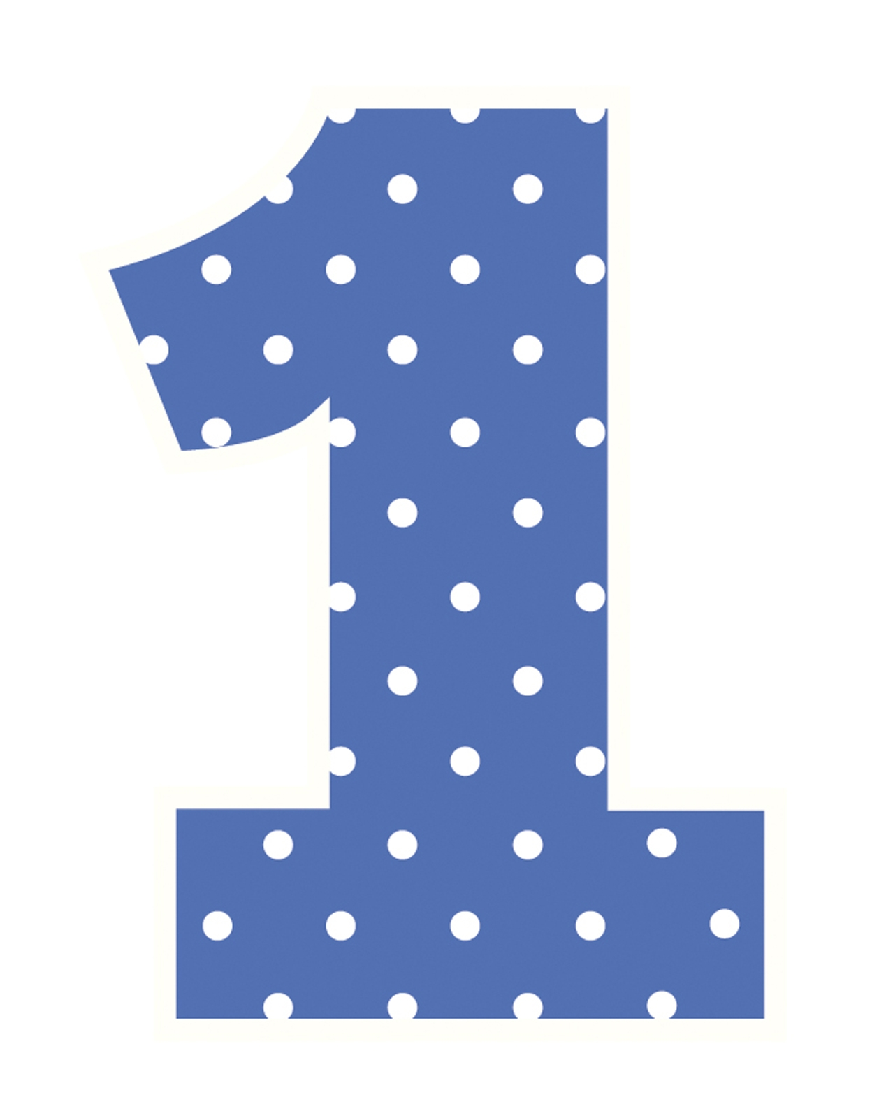 Polka dot number 1 clipart.