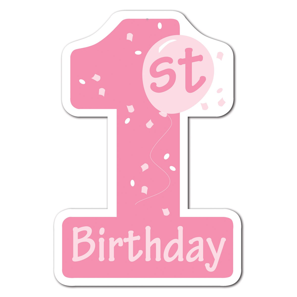 Pink Number 1 Birthday Clipart.